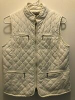 Croft & Barrow Womens Quilted Lined Ivory Zippered Front Pockets Vest Size Small