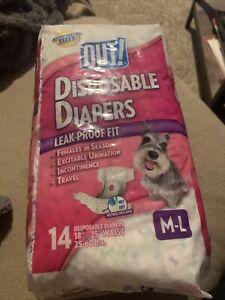 "OUT! 14 DISPOSABLE DOG DIAPERS M-L Medium / Large 18-25"" WAIST 100% Leak-Proof"
