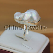 AAA 925 silver ring - 22mm white Reborn Keshi baroque freshwater pearl ring