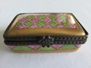 Antique Porcelain Pill box w/ Ormolu frame Painted w/Gold Lavender Green Design