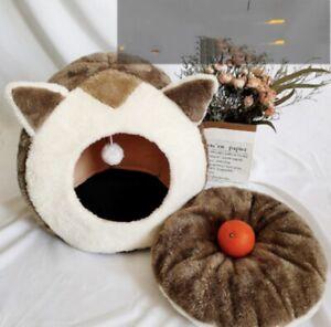 Pet Cat Comfy Warm Indoor Calming Bed Cute Sleeping Nest Caved Igloo Bed Shelter