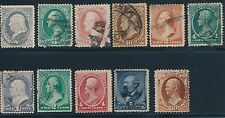 U.S. (1881-1888) #206-213 & #215-217 (11 EARLY ISSUES) USED; AS SHOWN; CV $300+
