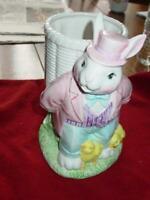 Vintage RABBIT PLANTER Candy Holder - Ceramic Easter Painted Bunny Chicks Eggs