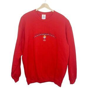 VTG USA 2002 Olympics Winter Games Salt Lake Embroidered Sweatshirt Red Size L