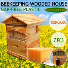 Wooden Beekeeping Beehive House +7Pcs Upgraded Auto Harvest Bee Comb Hive Frames
