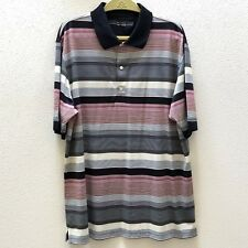 Greg Norman Golf Polo Shirts Mens XL Polyester Black Red Striped Short Sleeve