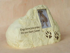 AngelStar Rock Pet Urn - Dog Paw Prints With Small Photoframe