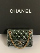 6c5b891e3af9 NWT Chanel Green Quilted Classic Flap CC Logo Purse Handbag Pin Brooch w/  Box