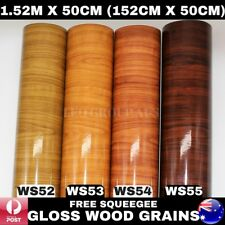 1.52M X 50CM Gloss Wood Grain Vinyl Wrap Film Sticker Kitchen Cupboard Doors