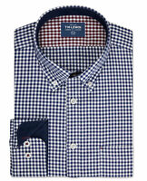 T.M.Lewin Mens Casual Slim Fit Navy and White Gingham Single Cuff Shirt