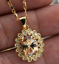 18K Yellow Gold Filled- 8*10MM Oval Morganite Topaz Flower Prom Pendant Necklace