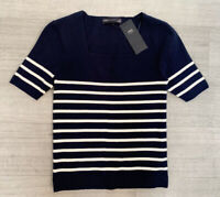 M&S Soft Touch Striped Knitted Top Size 8 Navy Blue Mix NEW Short Sleeve Autumn