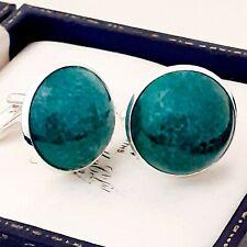 Vintage 1950s Green Marble Peking Glass - Large Round Silvertone Cufflinks