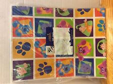 BLUES CLUES FLAT WRAPPING PAPER GIBSON GIFT WRAP BLUE MAGENTA PAW PRINT