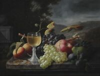 """oil painting handpainted on canvas """"Still Life with Fruit and Wine Glass  """""""