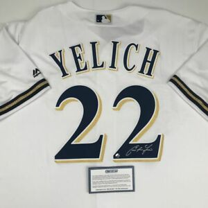 Autographed/Signed CHRISTIAN YELICH Milwaukee Brewers White Jersey Steiner COA