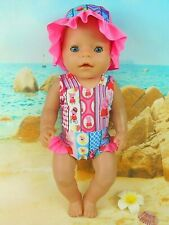 """Dolls clothes for 17"""" Baby Born Doll~PEPPA PIG SWIMMING COSTUME & SUN HAT"""