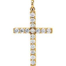 Cruz Diamante 45.7cm Collar en 14k ORO AMARILLO (1 1/2 Ct. TW