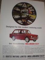The Revolutionary Hillman Imp motor car advert 1964 ref AY