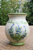 Vintage Ceramic Herbes De Provence Spice Jar w/Cork