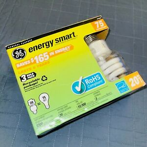 (3 BULBS) GE Compact Fluorescent, Soft White 2700k, 20 W 75 Equiv. Helical