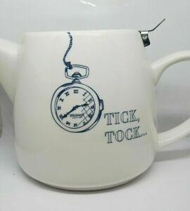 "Whittard of Chelsea ""Tick Tock"" 650ml Tea Pot (White) With Stainless Infuser"
