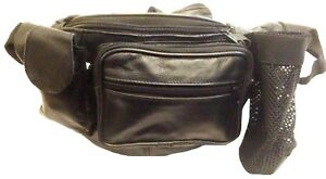 Leather Travelling Waist Bag Four Big Pockets Travel Hiking Back Packers Bum Bag