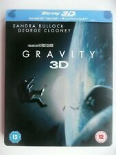 Gravity (Blu-ray 3D, 2014, 2-discs) Alfonso Cuaron, Sandra Bullock, STEELBOOK