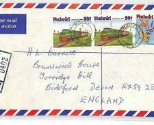 MALAWI *Mzuzu* Cover 1981 Commercial Air Mail TRAINS FLOWERS {samwells}BT263