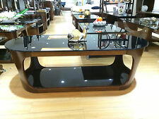 Walnut Veneer Coffee Table with a Black Glass Finish Rectangular with Curved End