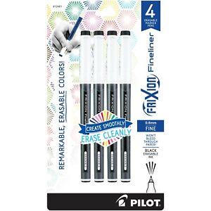 12461 Pilot FriXion Fineliner Erasable Marker Pen, Fine 0.6mm, Black, Pack of 4