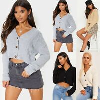 Ladies Women's Crop Short Cable Chunky Knitted 3 Button Cardigan Sweater New UK