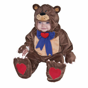 Brown Teddy Bear w Bow Baby Halloween Costume Plush Jumpsuit + Headpiece OS