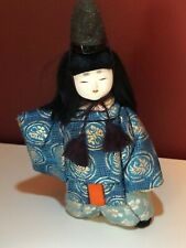 Vintage Japanese Kimekomi Doll  Ningyo Kimono wood fabric boy girl Okimono