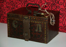 REGIMENTAL CASH box with Vintage handle with key Trunk Chest Deposit box1905
