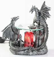 Black Double Dragon Burner Wax Tart Scented Oil Candle Warmer Electric Polyresin