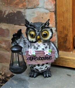 Garden Ornament Solar Large Owl Bird Lamp Welcome Decor Patio