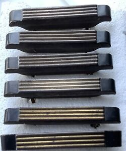 6 Drawer Pulls Streamline Moderne Art Déco Waterfall Brass Black 4-1/2 w Screws