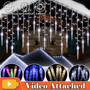LED Ice Piton Fairy String Lights Waterfall Outdoor Curtain Party Christmas Deco