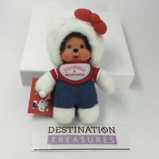 "Monchhichi X Hello Kitty Plush Sealed Baby Monkey w Pacifier 8.25"" 1st Release"