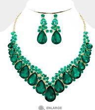 Green Emerald Gold Long Austrian Crystal Pageant Dangle Earrings Jewelry Set