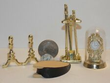 Dollhouse Miniature Fireplace Tools & Clock 1:12  inch Scale H39 Dollys Gallery