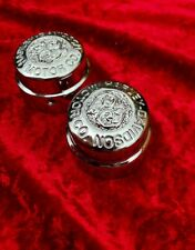 HARLEY DAVIDSON CHROME CUSTOM HAND ENGRAVED SOFTAIL FRONT SPINDLE COVERS 2006 ON