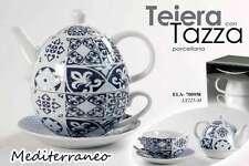 TEIERA CON TAZZA + PIATTO IN PORCELLANA DECORATA MEDITERRANEO ELA-700958