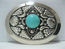Cowboy Western Belt Buckle #844 - German Silver with Turquoise Colored Stone