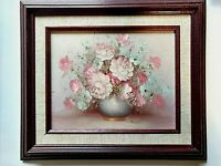 ROBERT COX (1934-2001) PASTEL PINK FLORAL STILL LIFE OIL PAINTING CANVAS, SIGNED