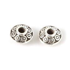 20 Perles Intercalaire Motif Gravé métal Rond 6 mm sans nickel