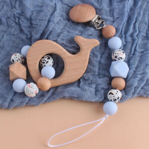 Whale Bear Bird Beech Silicone Beads Baby Teething Bracelet Pacifier Chain Clips