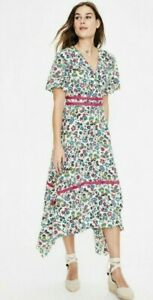 Boden Holly Hanky Hem Midi Dress Ivory Exotic Garden Size UK 8 R RRP £120