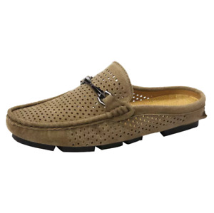 Men Hollow Out Suede Leather Half Slippers Flats Loafers Casual Summer Shoes